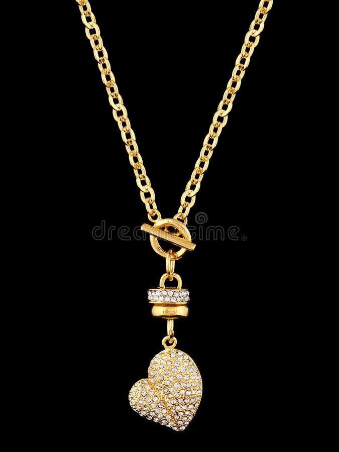 Gold heart with brilliants royalty free stock photos