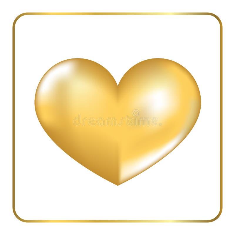 Gold heart 3D 2 stock illustration