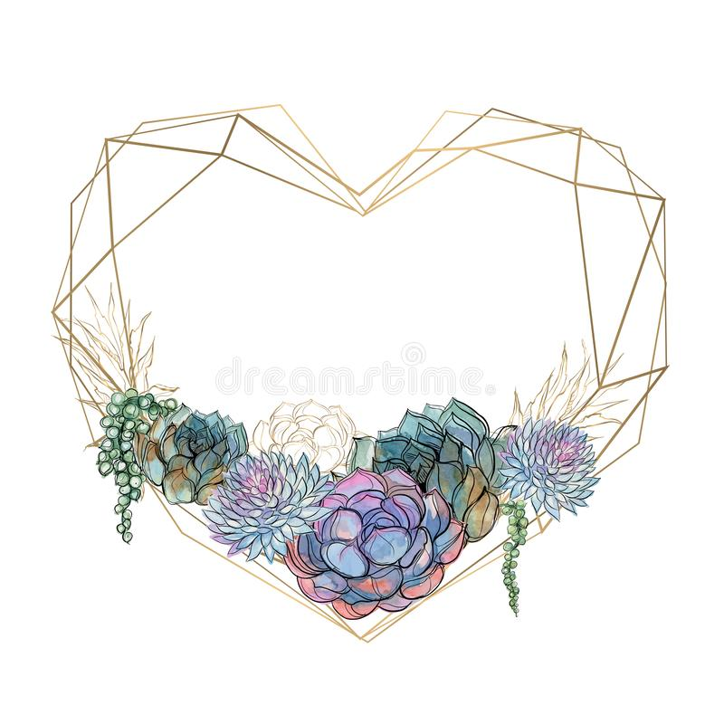 Gold heart frame with succulents. Valentine. Watercolor.Graphics. Vector. Gold heart frame with succulents. Valentine. Watercolor.Graphics Vector vector illustration