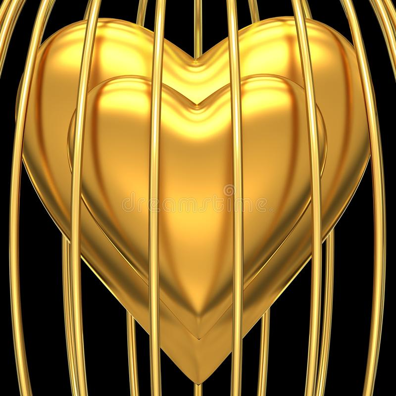 Download Gold heart in golden cage stock illustration. Image of health - 25236752
