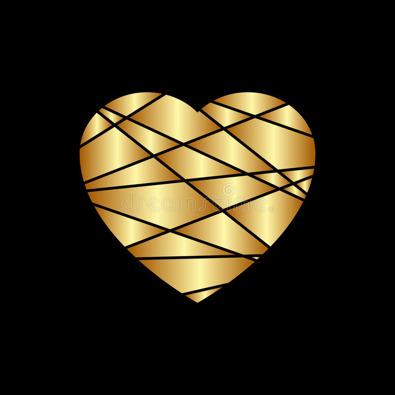 Gold heart icon. Golden glitter silhouette,metal sign shape isolated on black background. Vector Illustration. Symbol of happy vector illustration