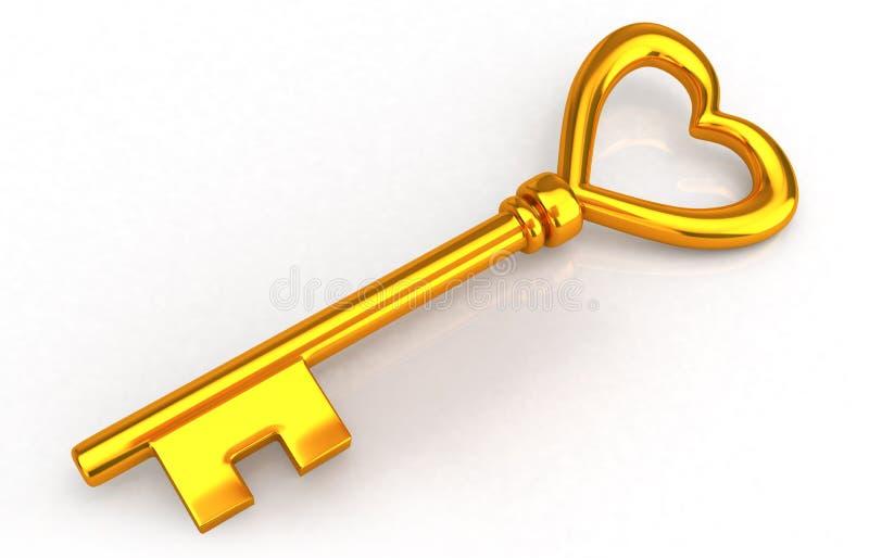 Gold heart key royalty free illustration