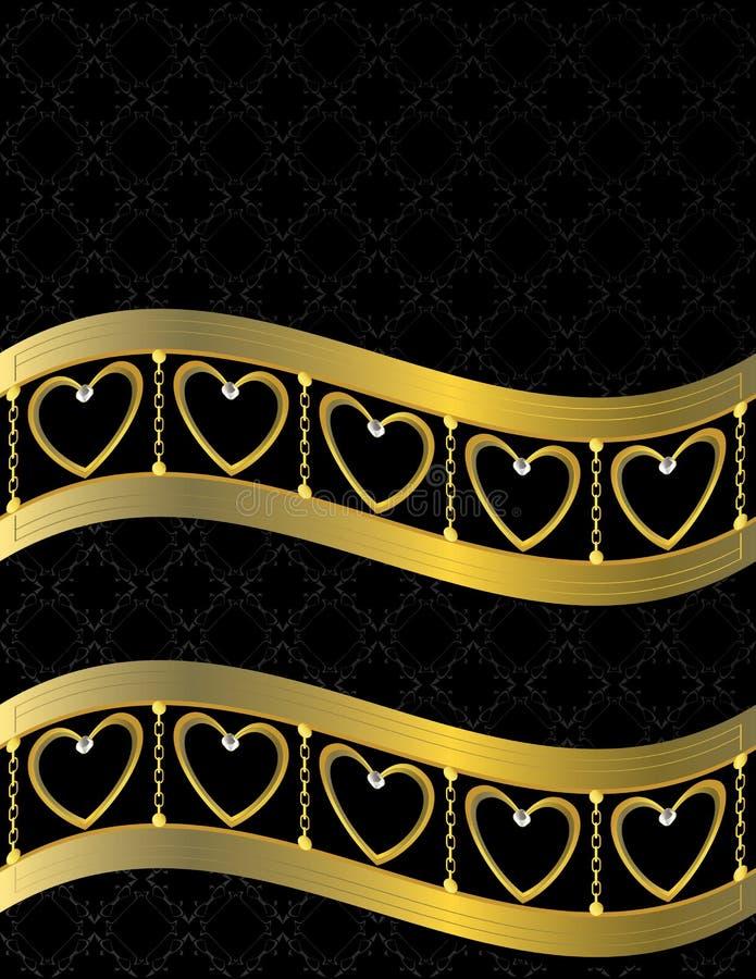 Gold heart patterned background 11 stock illustration