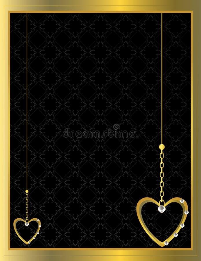 Gold heart patterned background 3 vector illustration