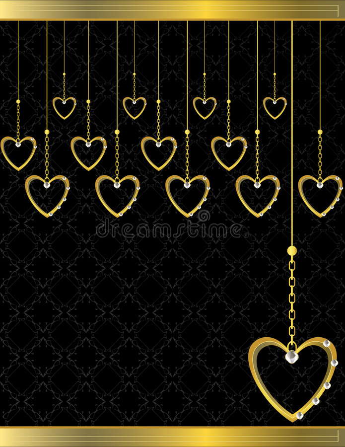 Gold heart patterned background 5 stock illustration