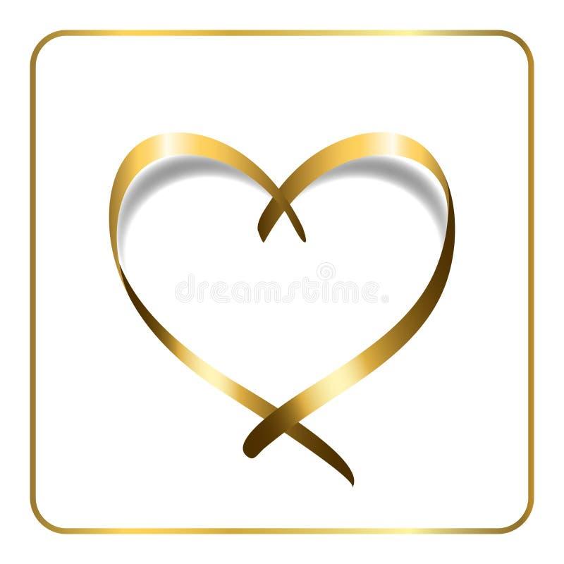 Gold heart ribbon 1 stock illustration