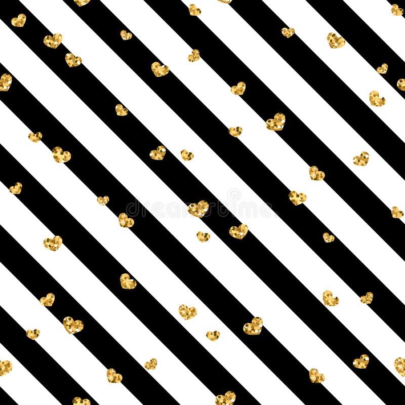 Gold heart seamless pattern. Black-white geometric stripes, golden confetti-hearts. Symbol of love, Valentine day stock illustration