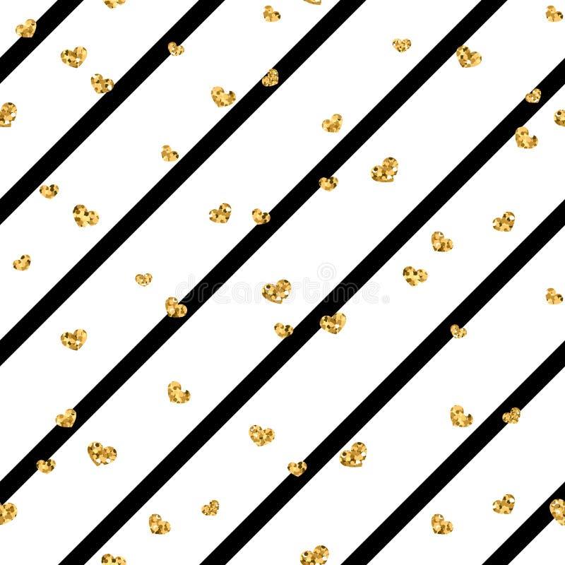 Gold heart seamless pattern. Black-white geometric stripes, golden confetti-hearts. Symbol of love, Valentine day. Holiday. Design wallpaper, background, fabric vector illustration