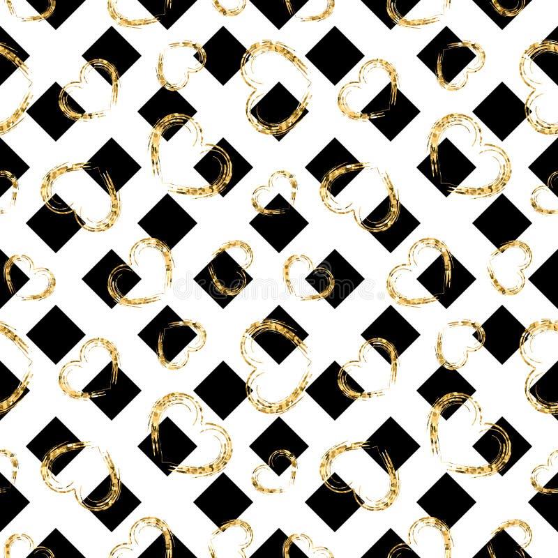Gold heart seamless pattern. Black-white geometric stripes, golden grunge confetti-hearts. Symbol of love, Valentine day. Holiday. Design wallpaper, background stock illustration