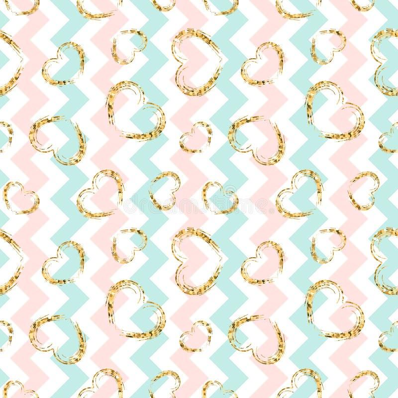 Gold heart seamless pattern. Blue-pink-white geometric zig zag, golden grunge confetti-hearts. love, Valentine day stock illustration