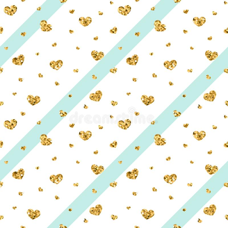 Gold heart seamless pattern. Blue-white geometric stripes, golden confetti-hearts. Symbol of love, Valentine day holiday vector illustration