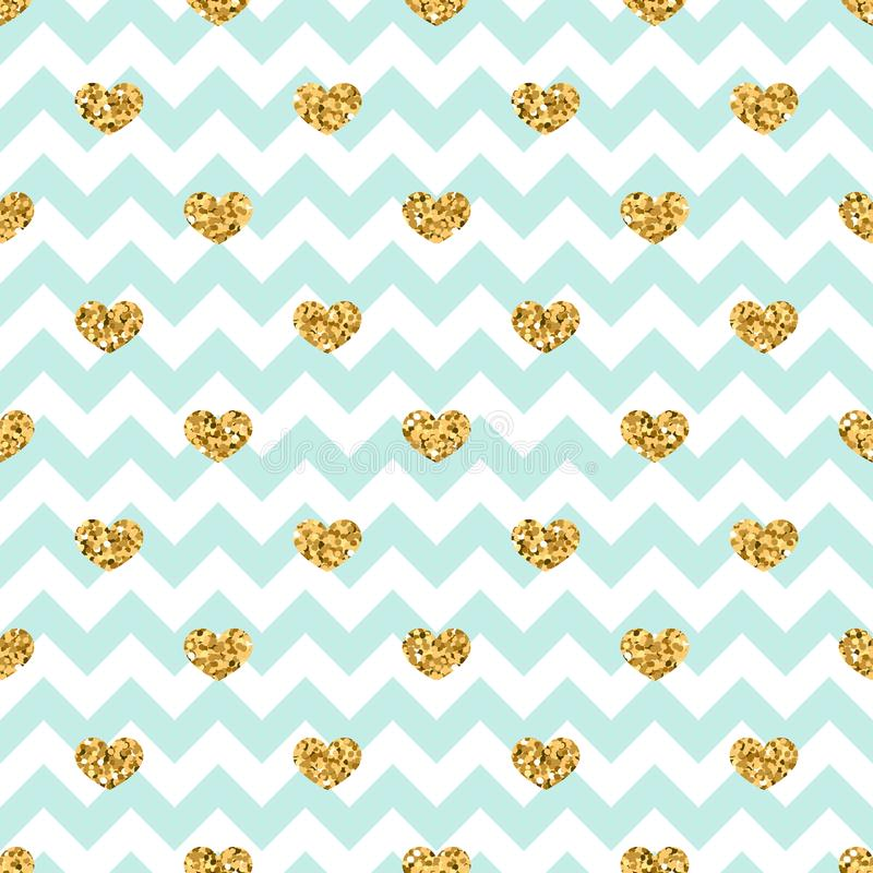 Gold heart seamless pattern. Blue-white geometric zig zag, golden confetti-hearts. Symbol of love, Valentine day holiday stock illustration