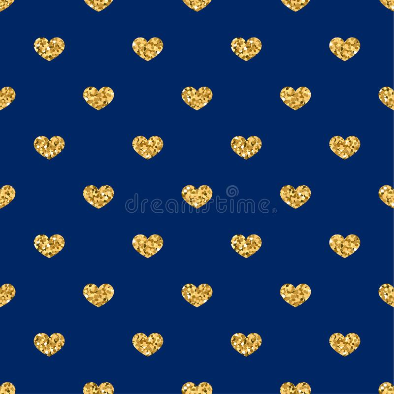 Gold heart seamless pattern. Golden geometric confetti-hearts on blue background. Symbol of love, Valentine day holiday vector illustration