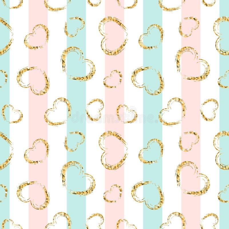 Gold heart seamless pattern. Pink-blue-white geometric stripes, golden grunge confetti-hearts. Symbol of love, Valentine royalty free illustration