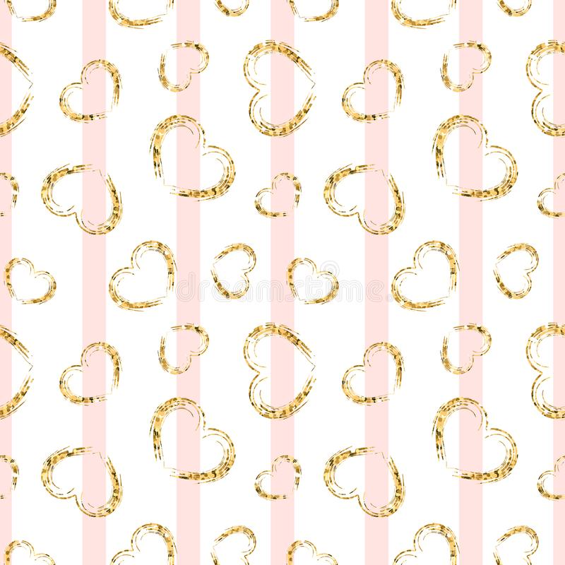 Gold heart seamless pattern. Pink-white geometric stripes, golden grunge confetti-hearts. Symbol of love, Valentine day. Holiday. Design wallpaper, background royalty free illustration