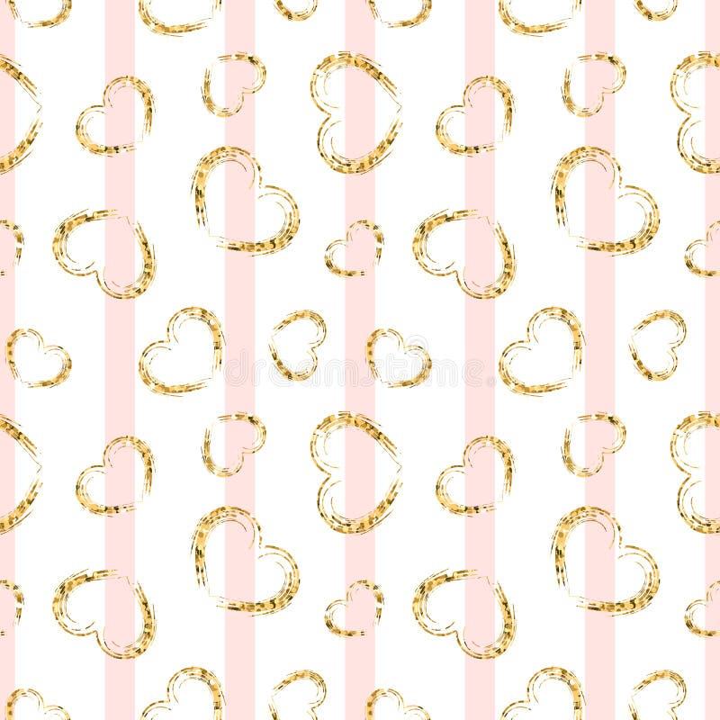 Gold heart seamless pattern. Pink-white geometric stripes, golden grunge confetti-hearts. Symbol of love, Valentine day royalty free illustration