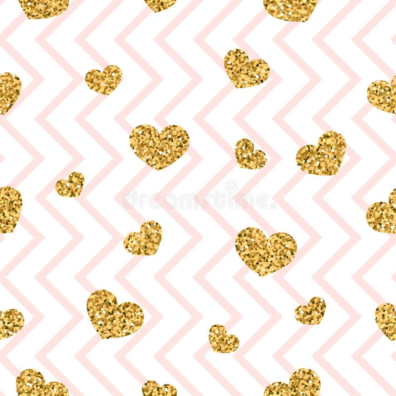 Gold heart seamless pattern. Pink-white geometric zig zag, golden confetti-hearts. Symbol of love, Valentine day holiday stock illustration