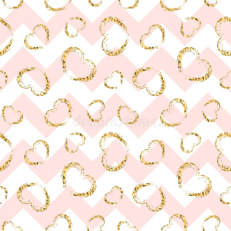 Gold heart seamless pattern. Pink-white geometric zig zag, golden grunge confetti-hearts. Symbol of love, Valentine day royalty free illustration