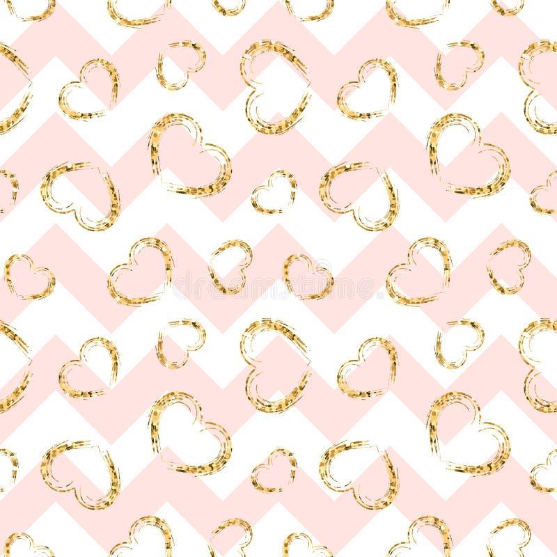 Gold heart seamless pattern. Pink-white geometric zig zag, golden grunge confetti-hearts. Symbol of love, Valentine day royalty free illustration