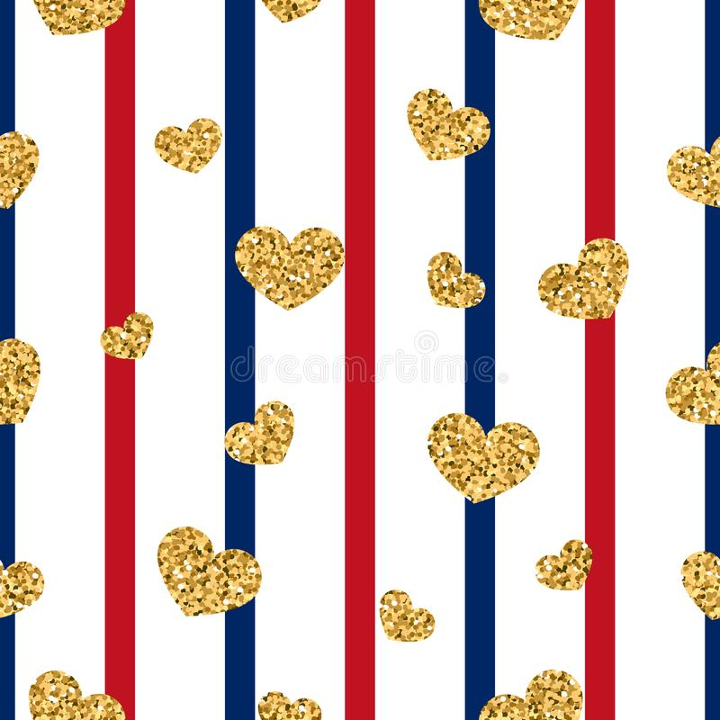 Gold heart seamless pattern. Red-blue-white geometric stripes, golden confetti-hearts. Symbol of love, Valentine day vector illustration