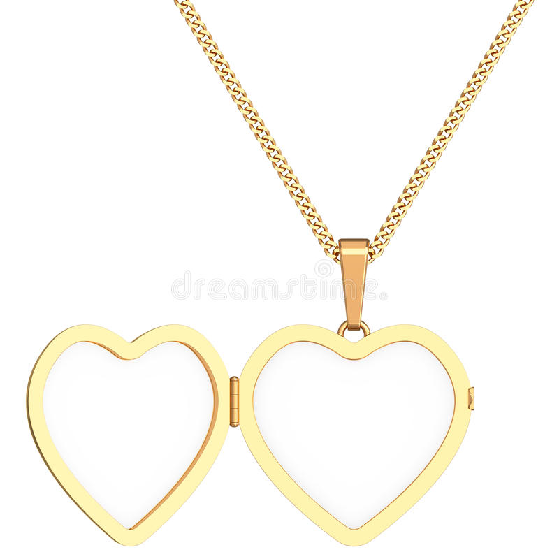 Gold heart shaped locket on chain isolated on white stock illustration