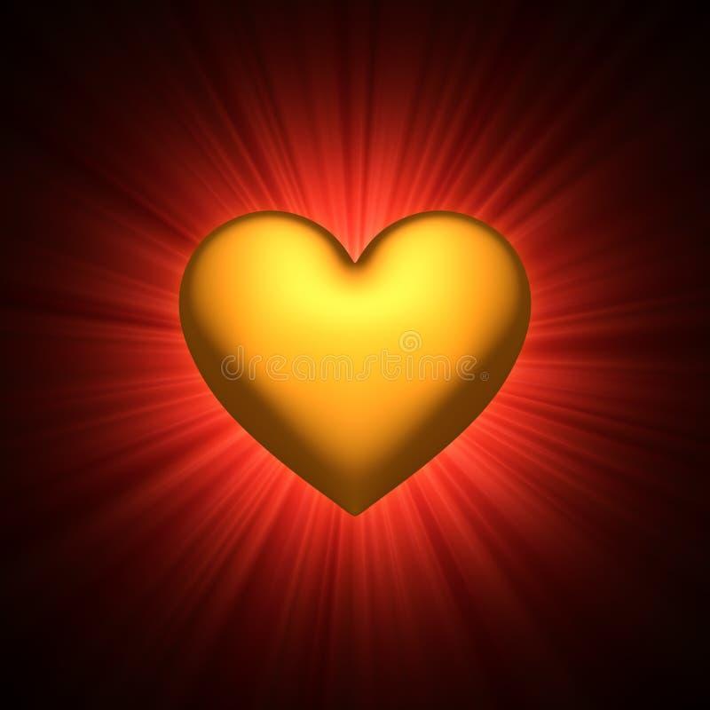 Gold heart symbol vector illustration
