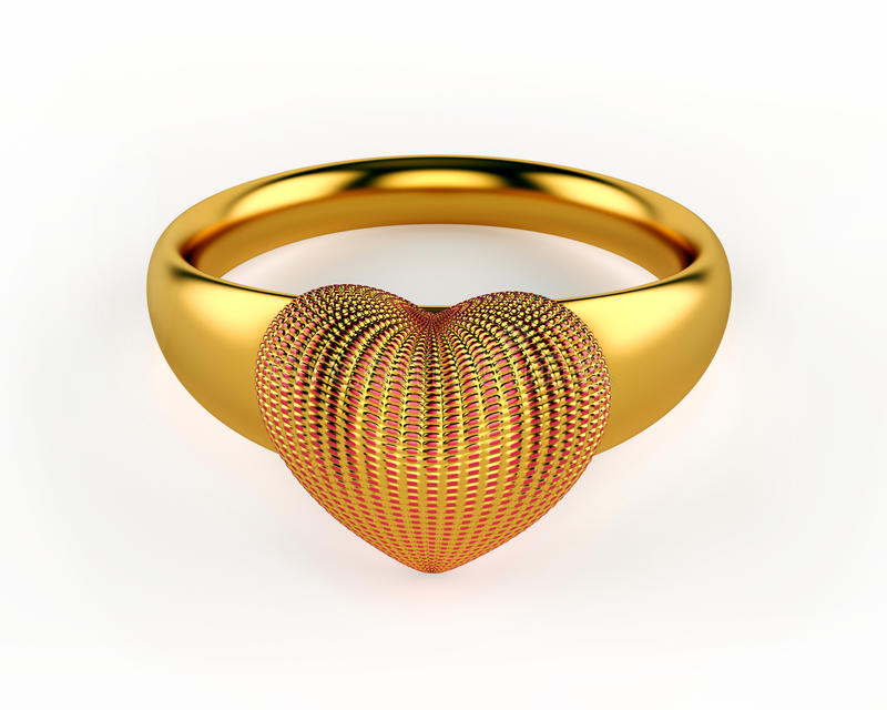 Gold Heart and wedding rings stock illustration