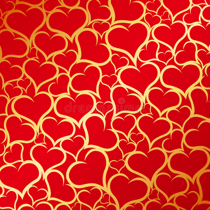 Gold hearts background stock illustration