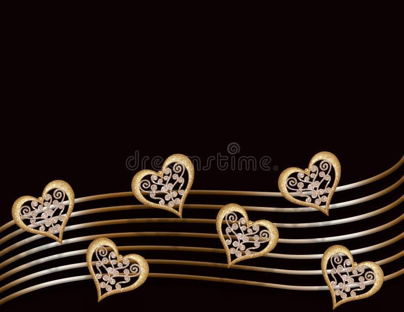 Gold hearts on black stock photos