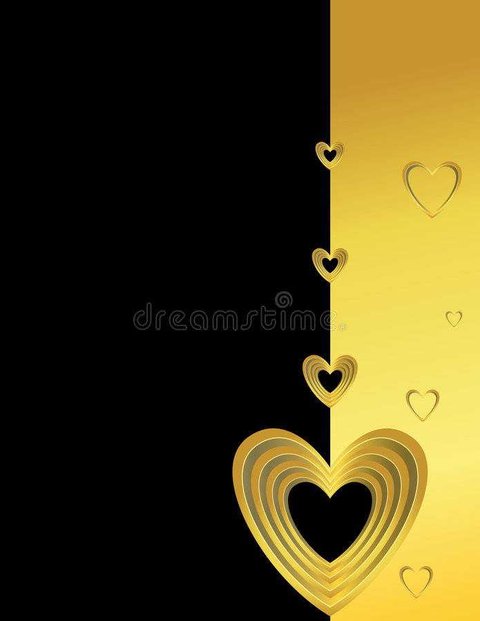 Gold hearts on a black and gold background stock illustration