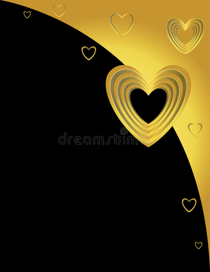 Gold hearts on a curve background vector illustration