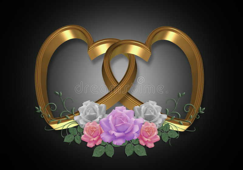 Gold Hearts and Roses on black royalty free stock images