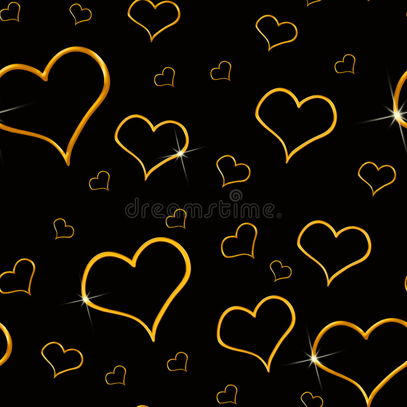 Free Gold Hearts Seamless Background Stock Photography - 5943902