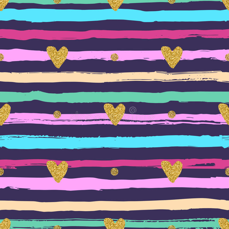 Gold hearts seamless pattern, hand-drawn colorful stripes brush and ink. Trendy valentines background, love backdrop, marine theme. Vector illustration royalty free illustration