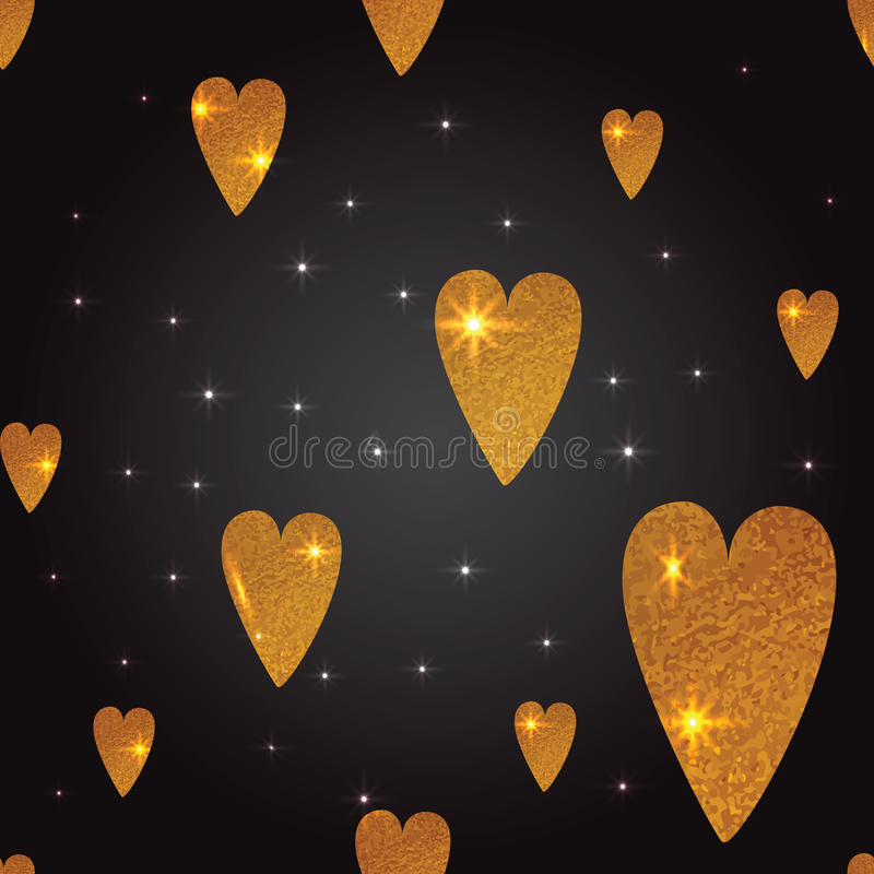 Gold hearts seamless vector pattern on the black background stock illustration
