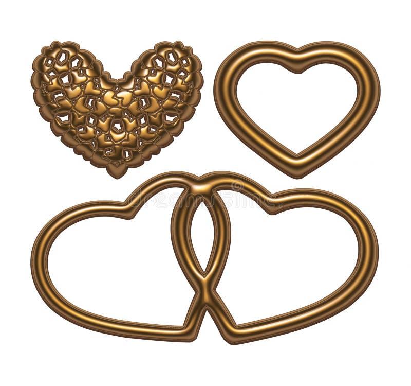 Gold hearts set for wedding design. I did it in 3D software vector illustration