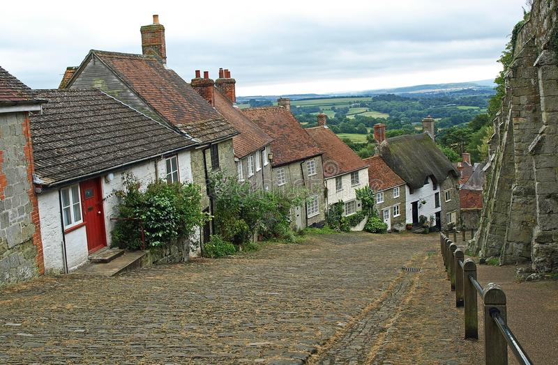Gold Hill. Famous View of Gold Hill Shaftesbury dorset stock image