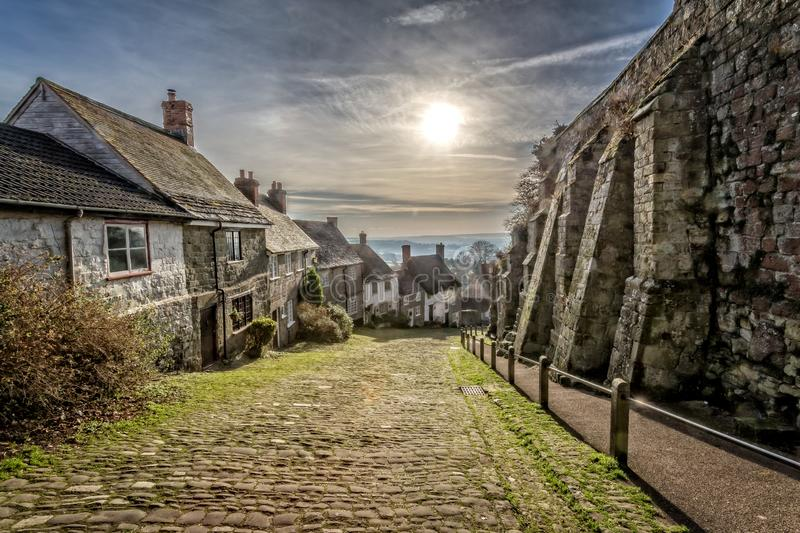Gold Hill in Shaftesbury royalty free stock image