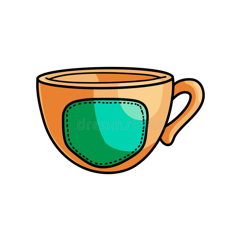 Gold hipster style cup with hot coffee and green emblem stock illustration