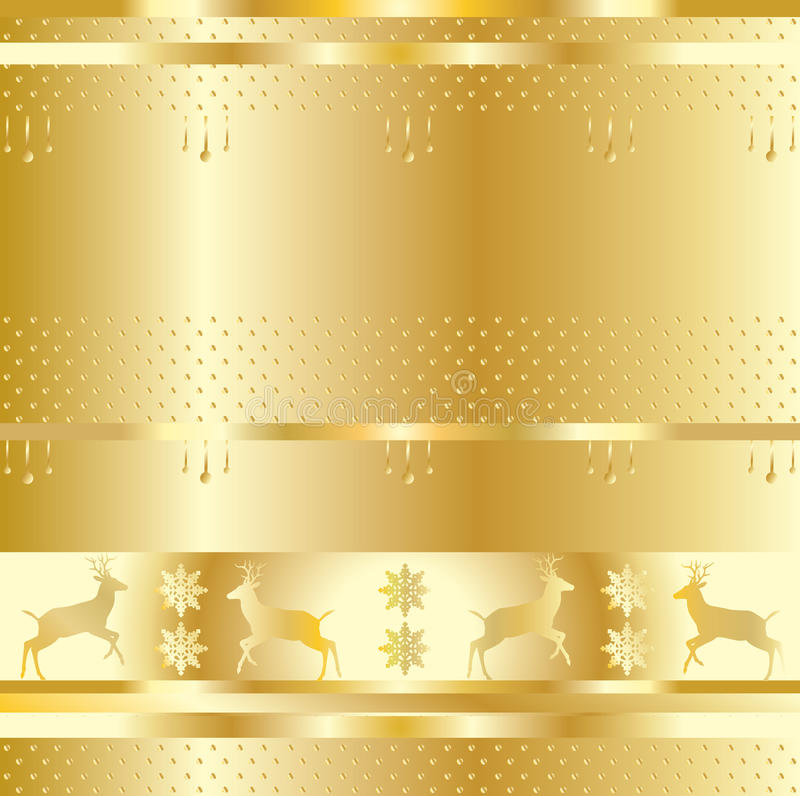 Christmas reindeer gold frame. Christmas decoration gold pattern with Christmas reindeer, falling snowflakes, polka dots decorating on gold background. Vector vector illustration