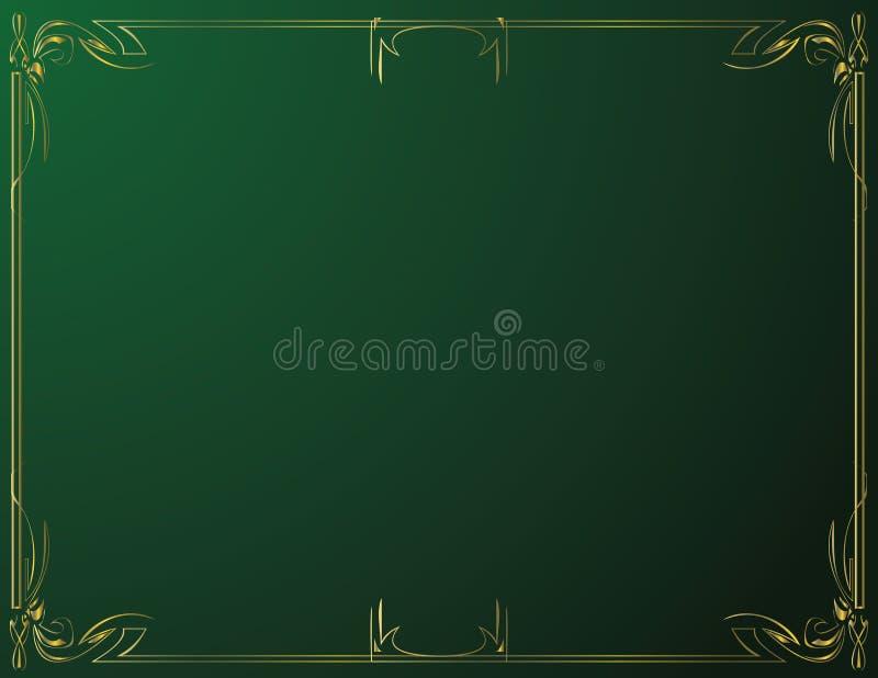 Gold horizontal frame on green gradiant background royalty free illustration
