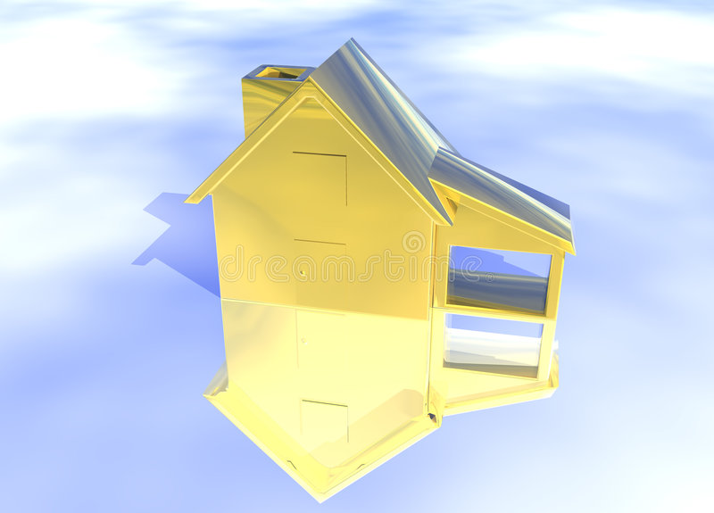 Gold House Model. On Blue-Sky Background with Reflection Concept First Place Success and Achievement vector illustration