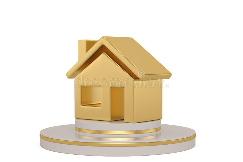 Gold  house with stand isolated on white background. 3D illustration. Gold house with stand isolated on white background. 3D illustration royalty free illustration