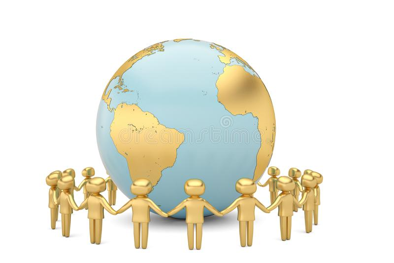 Gold human character holding hands around the globe world community concept high quality 3D illustration royalty free illustration