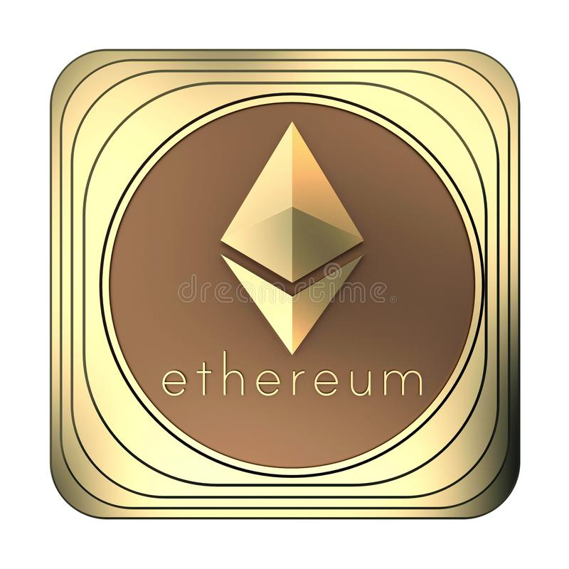 Gold icon ethereum coin isolated on white vector illustration
