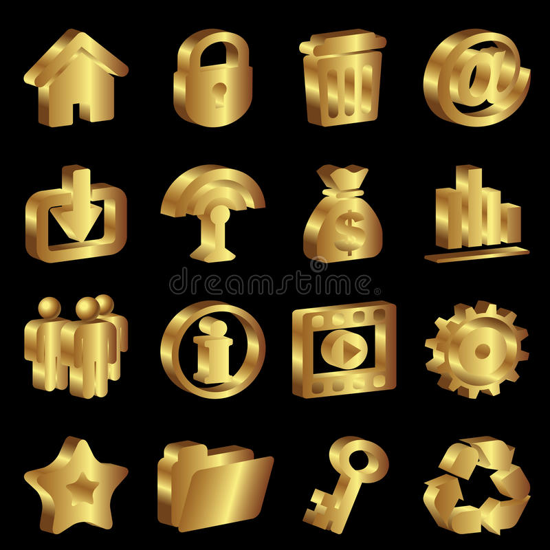 Download Gold icons stock vector. Illustration of black, volume - 25720991