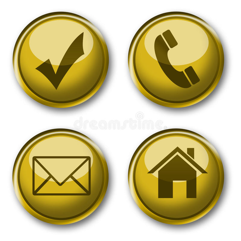 Gold icons collection vector illustration