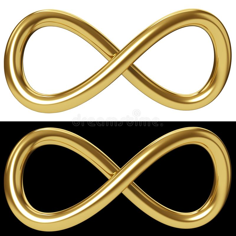 Gold infinity loop on white and black background royalty free illustration