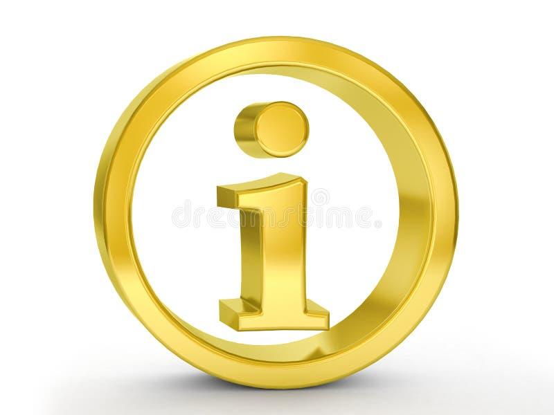 Gold info symbol. On a white background stock illustration