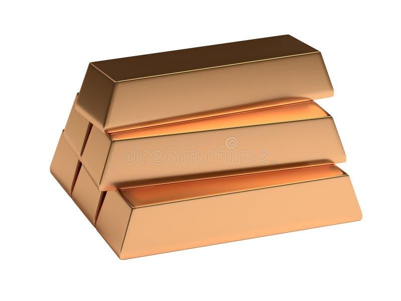 Gold ingot bullion block isolated. 3d render. Gold ingot bullion block isolated. Wealth realistic 3d render royalty free illustration